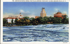 American Rapids Above the Falls looking from goat Island, Niagara Falls, N.Y. (pohled)