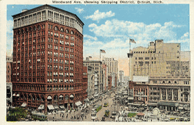 Woodward Ave, showing Shooping District, Detroit, Mich (pohled)