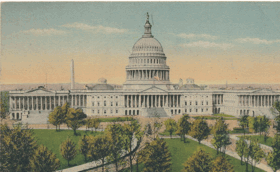 U. S. Capitol From Library of Congress, Washington, D. C. (pohled)